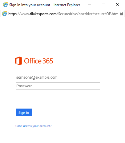 Phishing sign in page